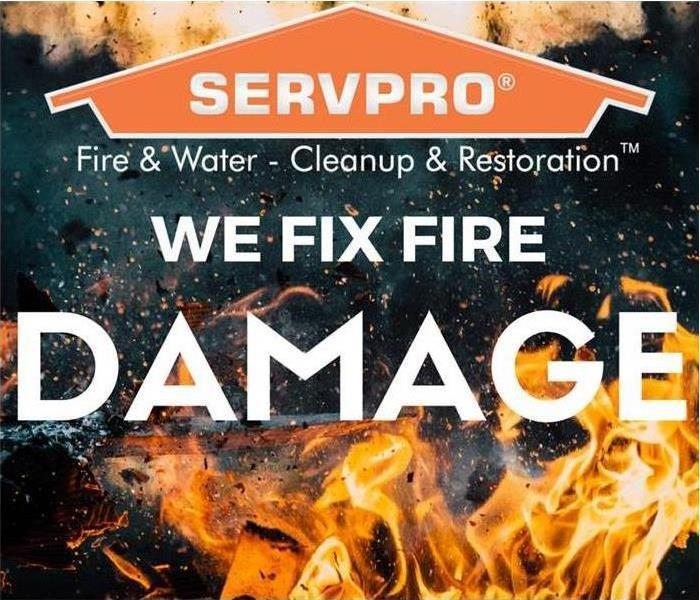 SERVPRO logo over flames with the words we fix fire damage.