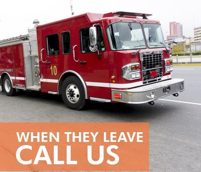 "A fire truck with the caption ""When they leave call us""."
