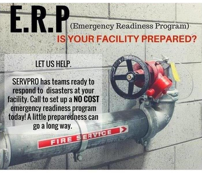 Fire sprinkler supply pipe and shut off valve with information about SERVPRO ERPs