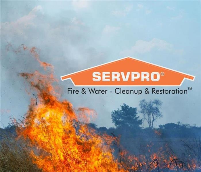 A wild fire burning with SERVPRO logo.
