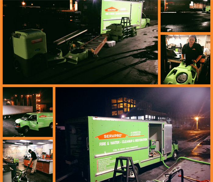 A collage of our crews working on a late night water damage and a local factory.