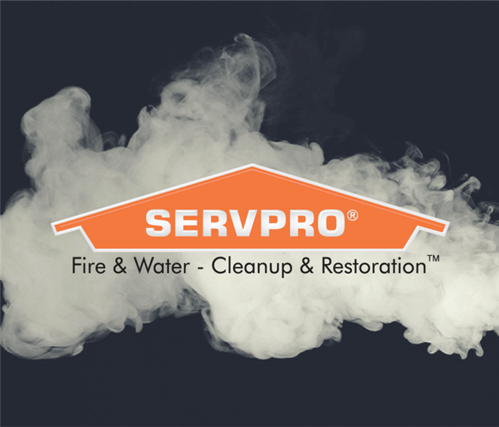 Smoke with a SERVPRO logo over it.